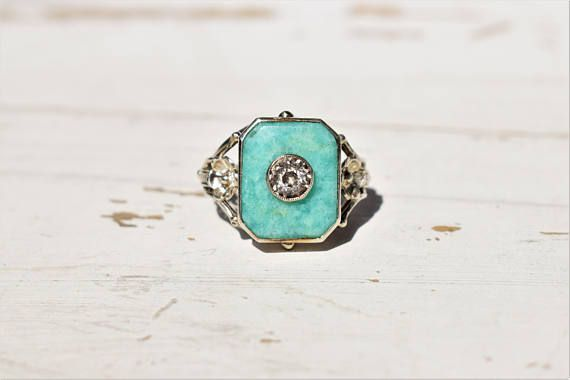 UNIQUE Amazonite and Crystal Rock Vintage Art Deco Ring