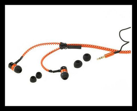 Tangle-Free Zipper Head Phones