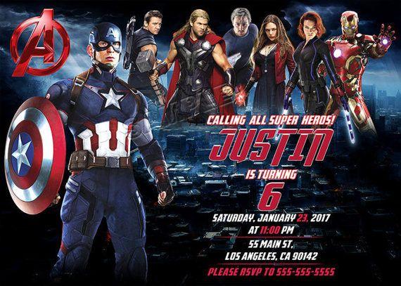 Avengers Birthday Invitation Avengers Invitation by BogdanDesign