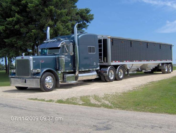 2002 Peterbilt 379 EXHD Tandem Axle Semi Truck W/Grain Trailer for sale in Darlington, Wisconsin