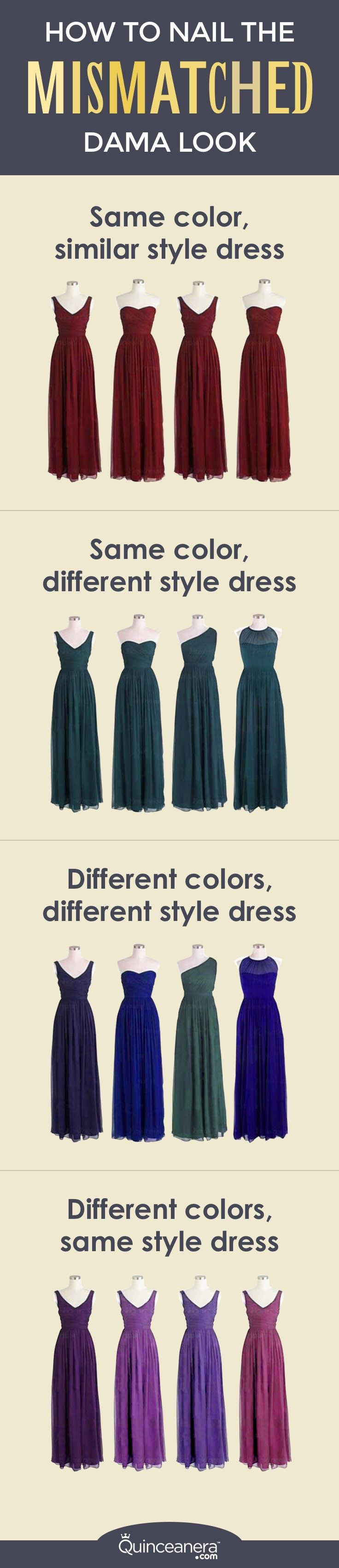 et's be real – we would hate buying an expensive dress that we don't feel beautiful in. That's why different body types, budgets, and personalities must be all taken into consideration to make each member of your quince court happy. - See more at: http://www.quinceanera.com/dresses/mismatched-dama-dresses/#sthash.2UHsbxU3.dpuf