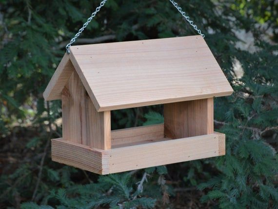 Bird Feeder Hanging Style House Shaped Made From Cedar Wood Etsy Bird House Feeder Bird Houses Diy Outdoor Wood Projects