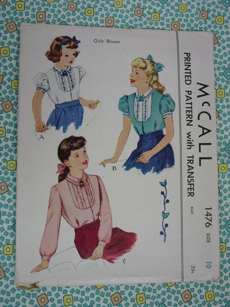 D'epoca modello 1949 McCall No.1476 ragazze camicetta dimensione 10 di auntnonniesnest su Etsy https://www.etsy.com/it/listing/475354961/depoca-modello-1949-mccall-no1476