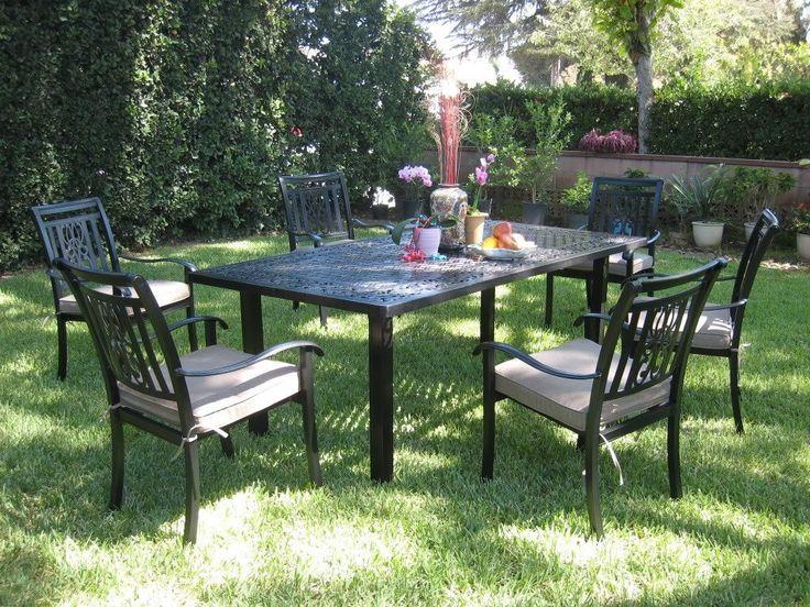 Amazon.com: CBM Outdoor Cast Aluminum Patio Furniture 7 Piece Dining Set A  CBM1290