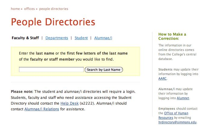 Patterntap: People Directories : Simmons College  (mutually exclusive search UI)
