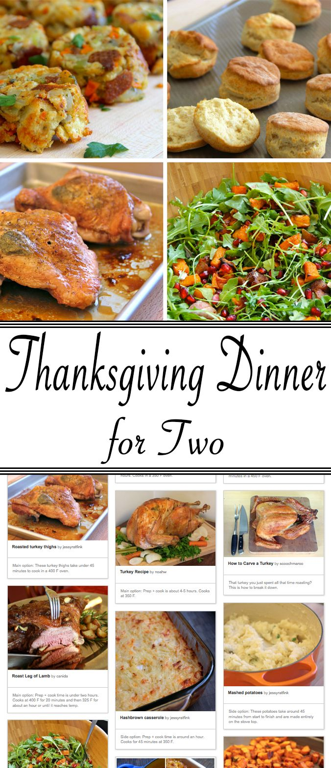 Plan and prepare Thanksgiving dinner for 2!