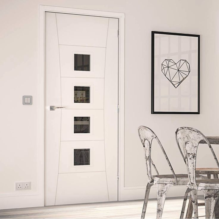 Deanta Pamplona White Primed Flush Door with Clear Safety Glass - Lifestyle Image.    #interior #design #door