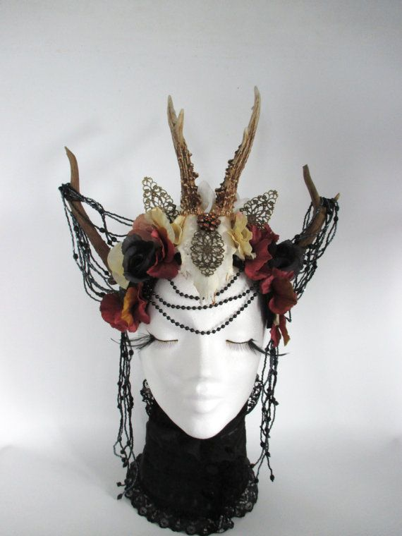 Queen of the Forest, Fairy Crowns Headdress, Fantasy Headdress, Floral wreath, Burning Man, antlers Headpiece