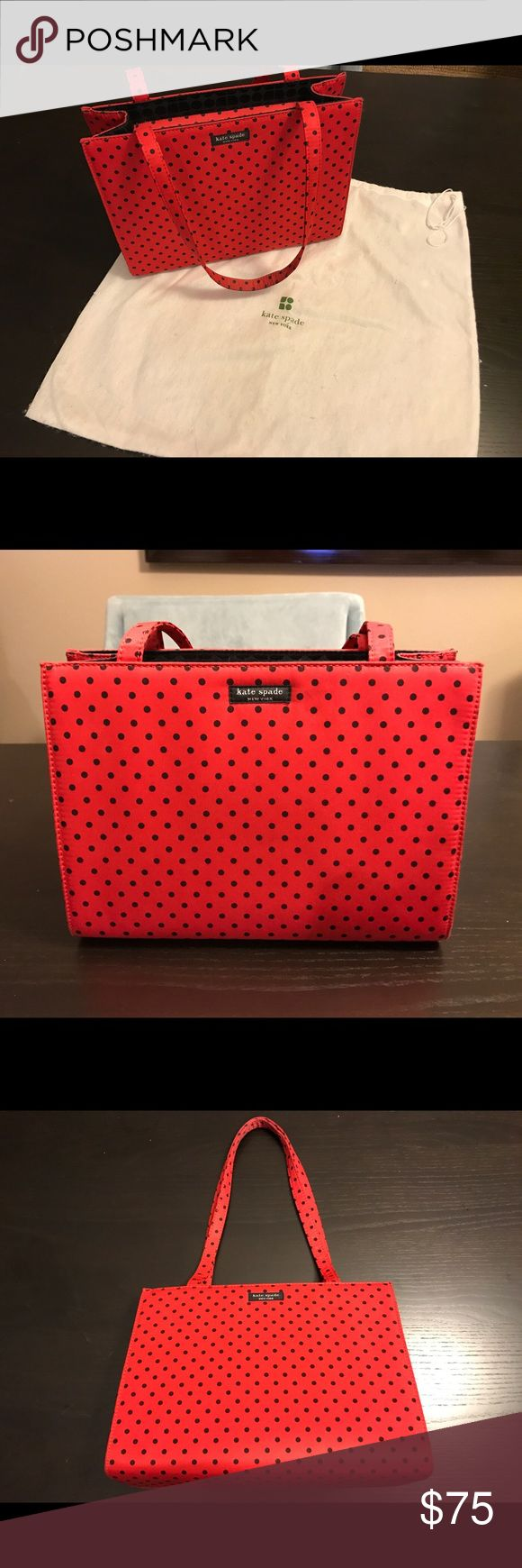 Kate Spade shoulder bag Adorable red Kate Spade purse with black polka dots and black interior. In very good condition. kate spade Bags Shoulder Bags