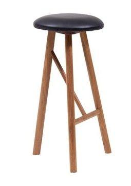 Why wood - Barstol med lædersæde.