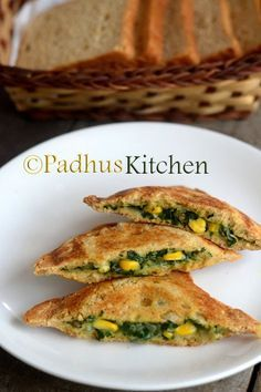 Padhuskitchen: Corn Spinach Sandwich-Palak Corn Sandwich Recipe