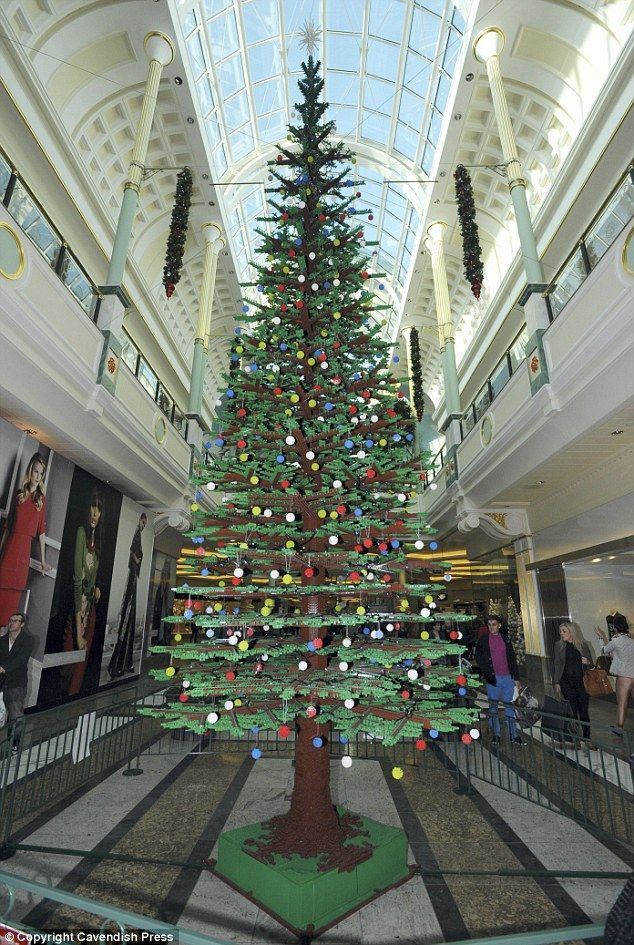 And you thought your tree was big! A Christmas tree made entirely from Lego bricks has sprouted in Manchester's Trafford Centre