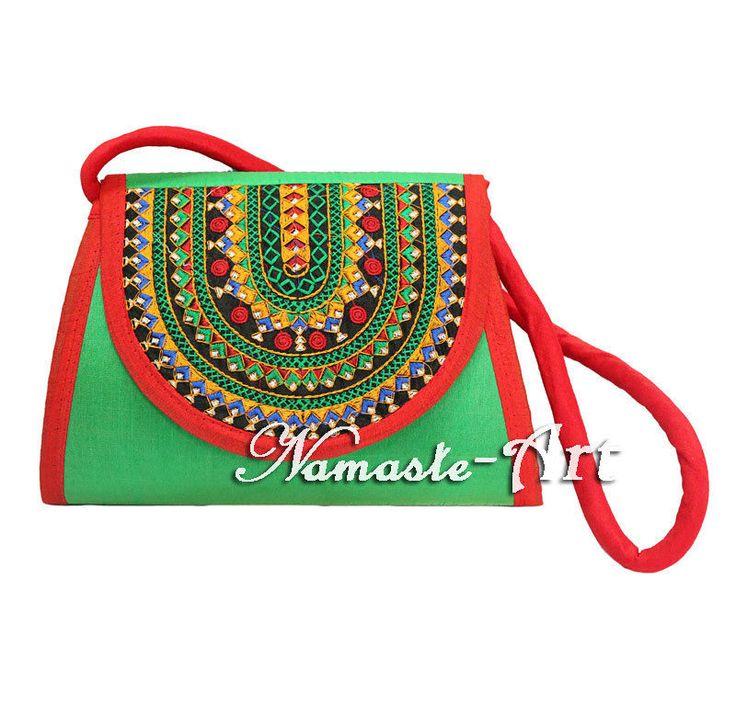 Indian Beautiful Silk Floral Embroidery Work Design & Handmade Clutch Carry Bag  #Namasteart #Clutch