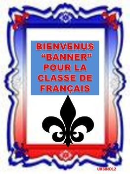 "DESCRIPTION:  This banner  spells out ""B I E N V E N U S "" in French. It will welcome students to your French classroom.  There is one letter per page. The letter ""I"" is  actually the Eiffel Tower. There is also a fleur de lis on each page.  Letters  can be cut out into triangle shapes or used as they are."