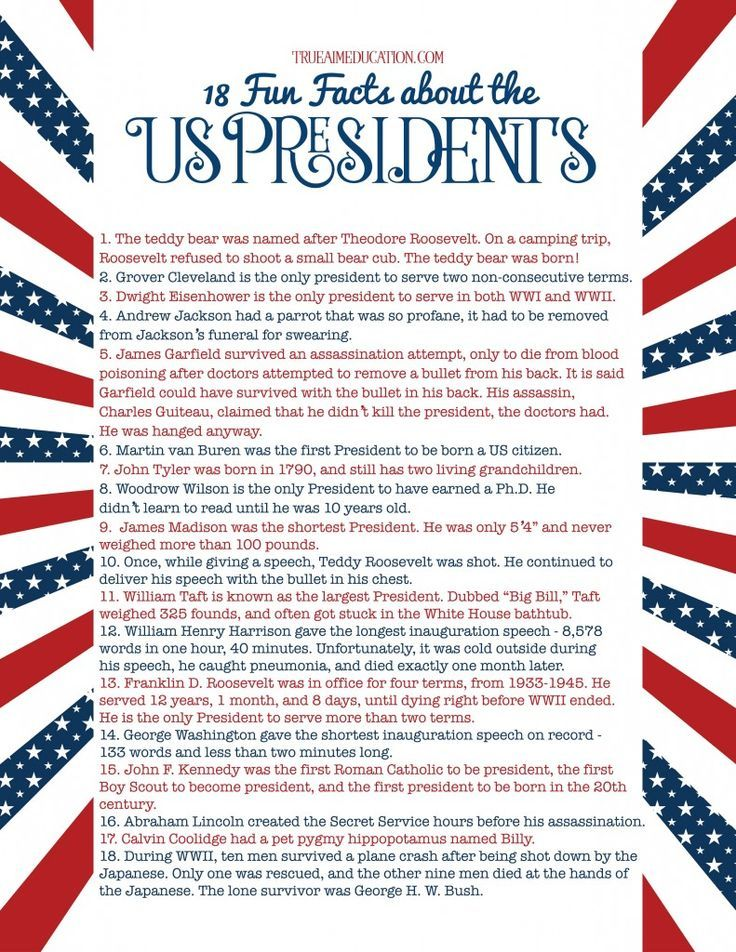 List of Presidents Freebie, with 18 Fun Facts about the Presidents for homeschool or classroom study