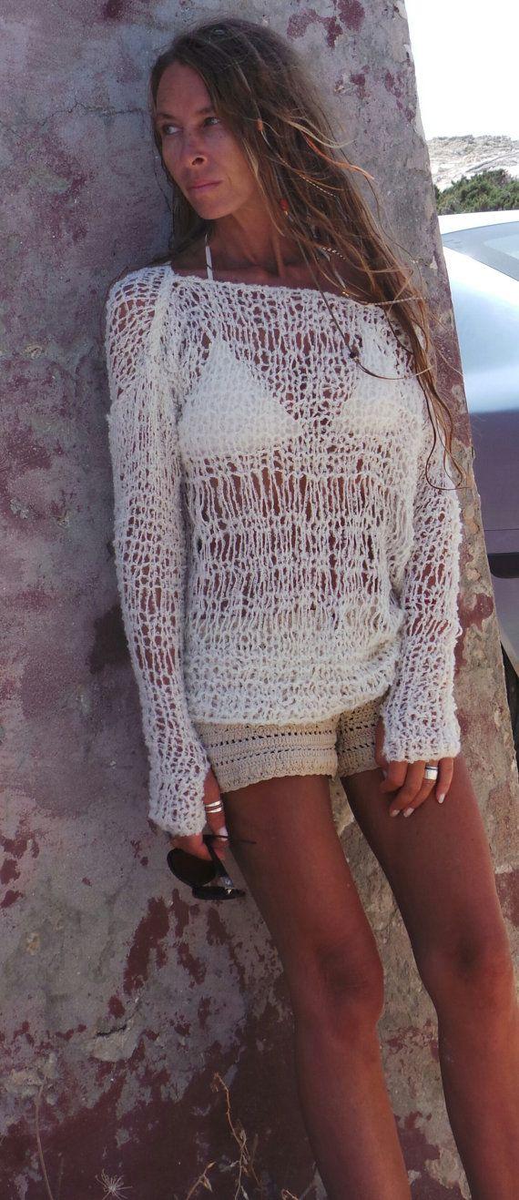 Suéter de punto marfil suéter suéter de boho mujer por ileaiye