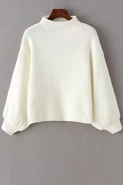 Solid Color Stand Neck Long Sleeve Jumper