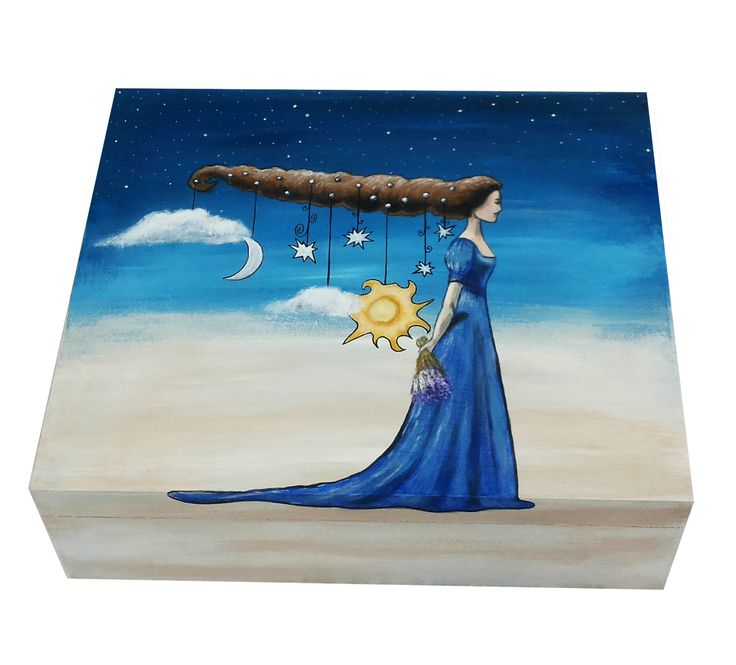 Custom hand painted box, Jewelry box, Tea box, Gift Box, Memories Box, Wedding box Jewelry Storage, Lady, Sun, Moon, Clouds. To order special hand painted gift is possible here SweetenYourHome.etsy.com