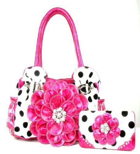 Polka Dot Pink Flower Rhinestone Purse W Matching Wallet