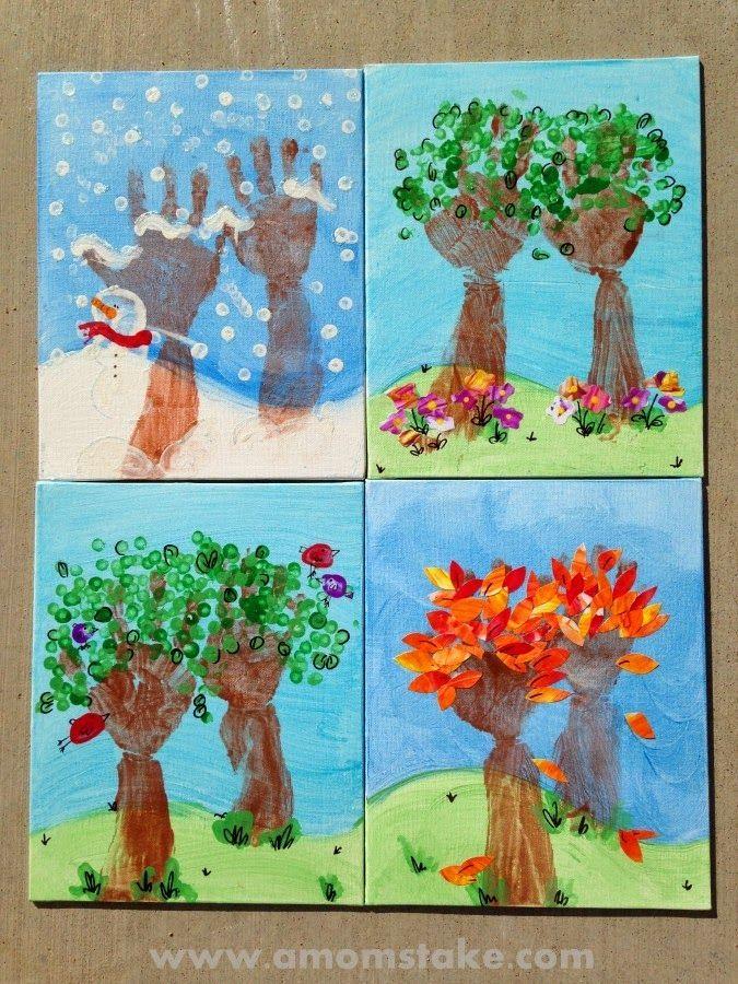 DIY paintings of four seasons step by step!!