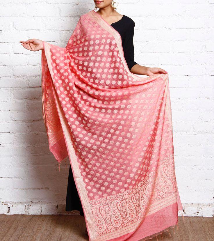 Pink Printed Art Silk Dupatta