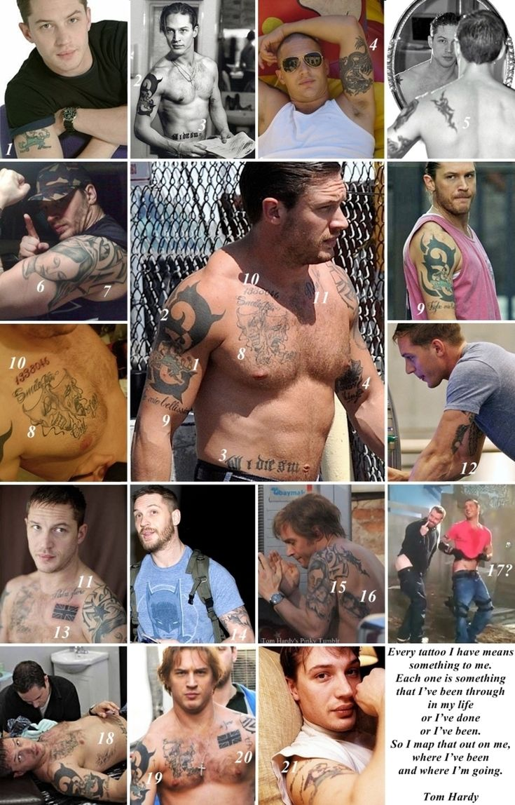 "Tattoos on Tom Hardy…(1/2)    < Meanings of Tom Hardy's Tattoo >  1. A Leprechaun (Tom got this one at 15, an ode to his Irish heritage on his mother's side)  2. some artisan design  3. ""Till I die SW"" (for his ex-wife Sarah Ward)  4. A large dragon (an ode to his now ex-wife Sarah Ward, who was born in the year of the dragon) with ""Lindy King"" (Tom's long time agent. Tom has pormised he'd get a tattoo if Lindy got him into Hollywood)  5. Scor"