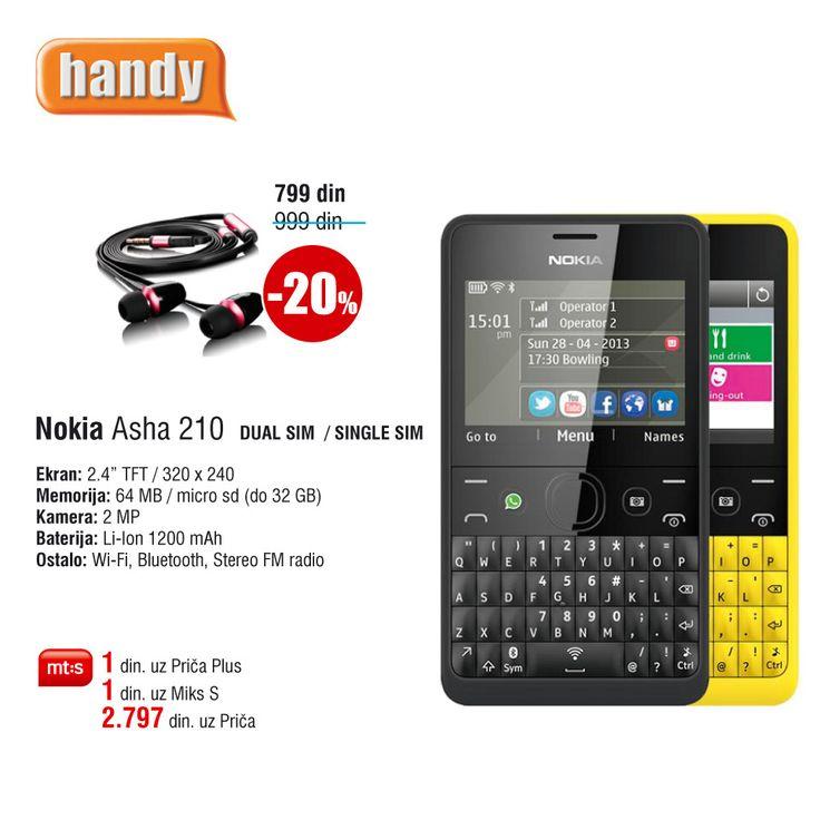 Nokia Asha 210 Dual SIM, uz Mt:s ugovor za 1 din. http://www.handy.rs/sr/p/nokia/asha-210-dual-sim