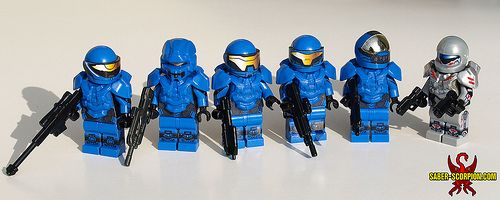 These custom Minifigures are out of this world thanks to Justin Stebbins. Rocking some BrickWarriors Galaxy Enforcer Armor, the Fireteam Majestic look ready to battle whatever the outer limits of the universe have to throw at them.These minifigs are inspired by Halo 4's Spartan Ops.  #Lego #Minifigure #BrickWarriors #toys #CustomLego #LegoHalo #GalaxyEnforcer #CustomArmor #CustomMinifigure