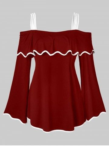 361477b2c79 Shop for ✿ 34% OFF ✿ 2019 Plus Size Hit Color Spaghetti Straps Flounce T- shirt in RED WINE, BLACK, DARK VIOLET and more different colors online at  $17.83 ...
