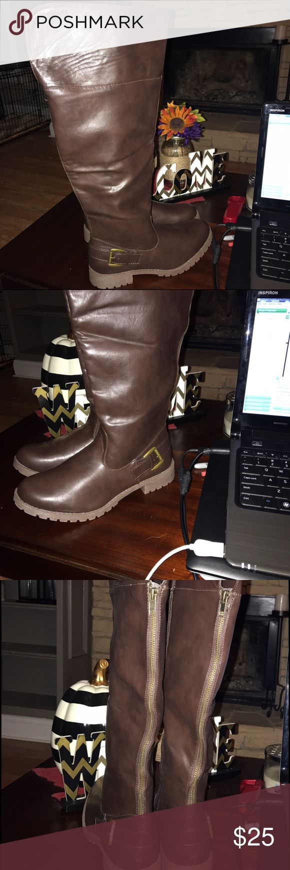 Brown Boots Tall brown boots. Brand New! Best for smaller legs. Size 10. Sociology Shoes Over the Knee Boots