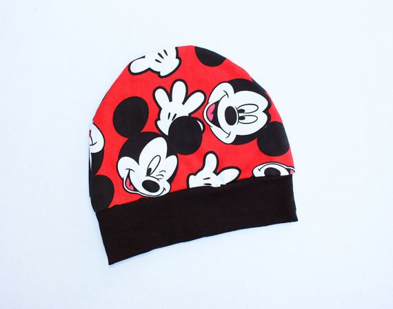 Mickey Mouse Beanie Hat 3T 4T Toddler Red Mickey Face Beanie Hat Soft Cotton Jersey Hat Infant Disney Beanie Kids Disneyland Hat Outfit C