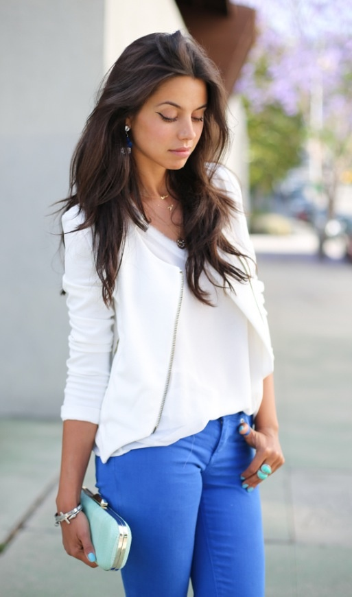 White shirt and jacket colored jeans and light powder blue clutch | Baby baby baby | Pinterest ...