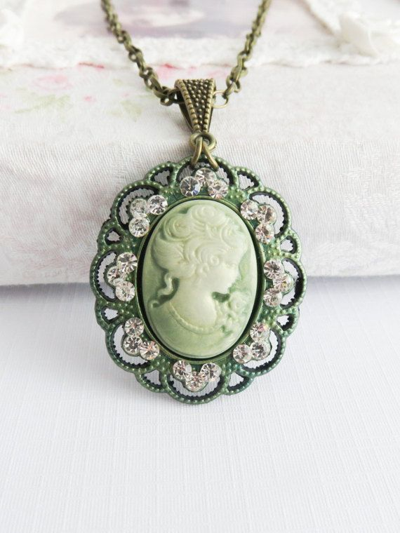 Green cameo necklace victorian style necklaces by romanticcrafts