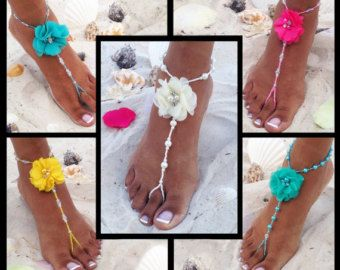 Bridesmaids Pearl Barefoot Sandals Turquoise by TheBridalBOWtique