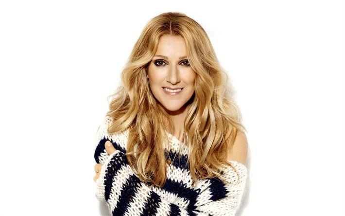 Hämta bilder Celine Dion, 4k, Kanadensisk sångare, porträtt, vacker kvinna, leende