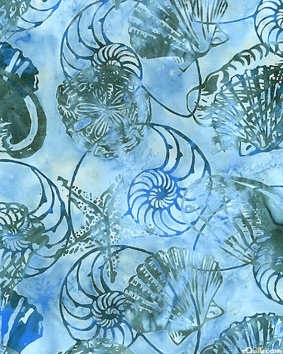 eQuilter Shells & Sand Dollar Batik - Water Blue - blues and greens, my favorites!