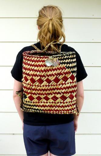 Natural Red Black Maori Kete Backpack