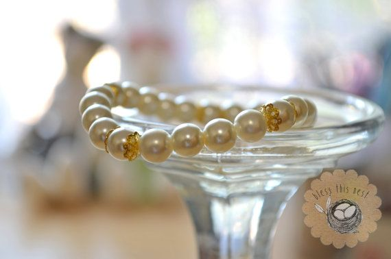 Glass Pearl Bead Bracelet with Gold Accents