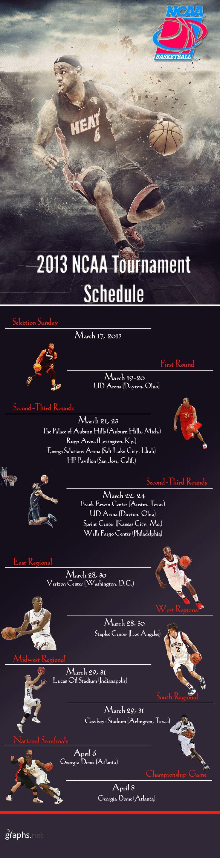 NCAA Basketball Tournament 2013 Schedule #NCAA #Basketball #Tournament #2013 #Schedule #sports #infographics