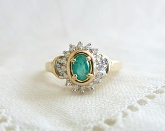 Natural emerald engagement ring Diamond ring with