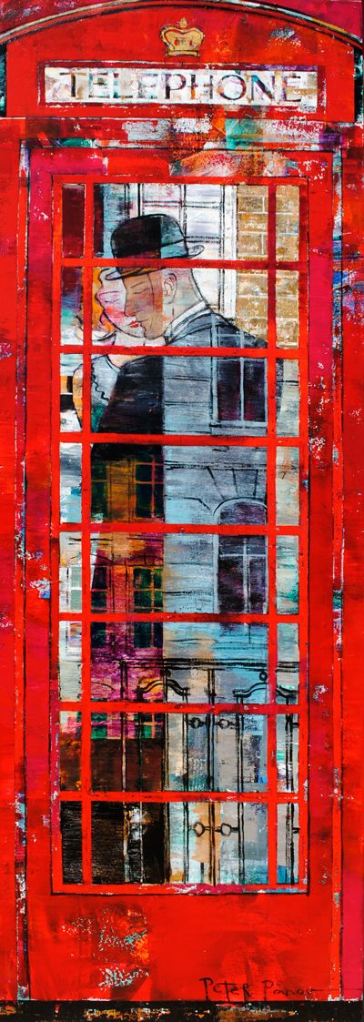 """""""Telephone Booth"""" - painting by Peter Panov at Crescent Hill Gallery"""