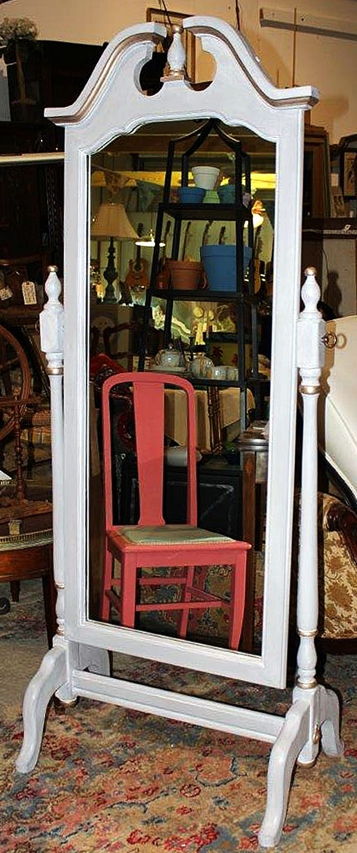 Annie sloan antoinette chalk paint 174 - Resurrected Cheval Mirror In Paris Grey And Old White Wash Cheval Mirrorstanding Mirrorchalk Paint