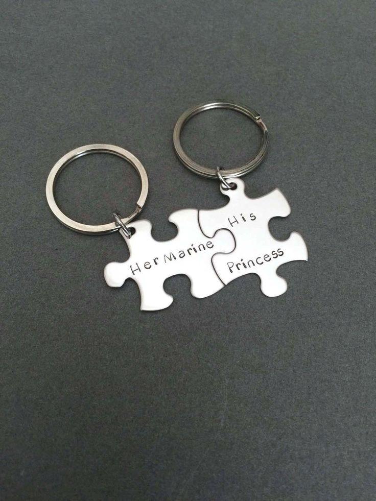 Her marine his princess keychains, couples keychains, puzzle piece keychain set