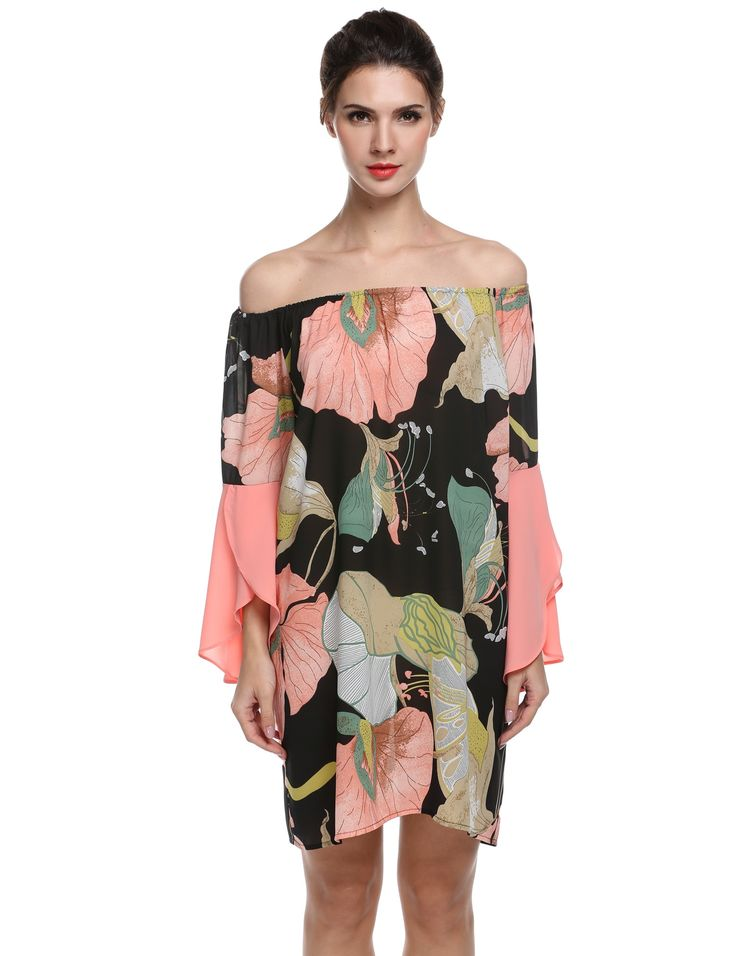 Women Off the Shoulder Butterfly Sleeve Floral Print Dress