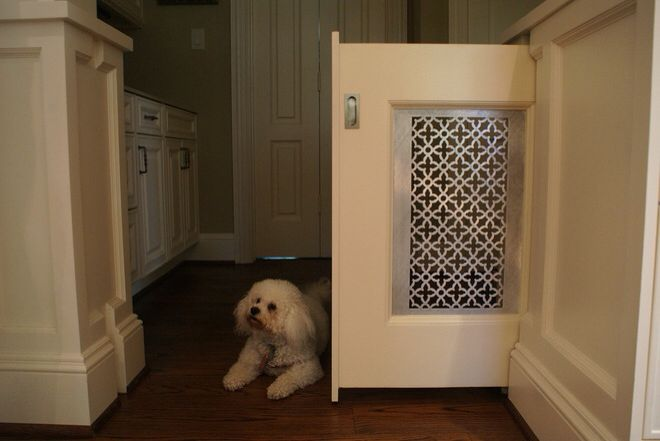 Dog crate, pen or play yard alternative. If you're simply looking to confine your dog to a specific part of the house, consider a pocket partition that disappears when it's not in use. But think twice before taking this on as a DIY; while the materials will run you only a couple hundred bucks, the design and construction can be tricky and are best left to the pros.