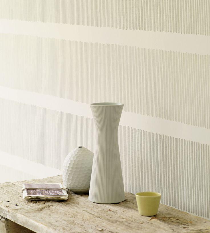Naturals & Neutrals | Tatami Stripe Wallpaper by Sanderson | Jane Clayton
