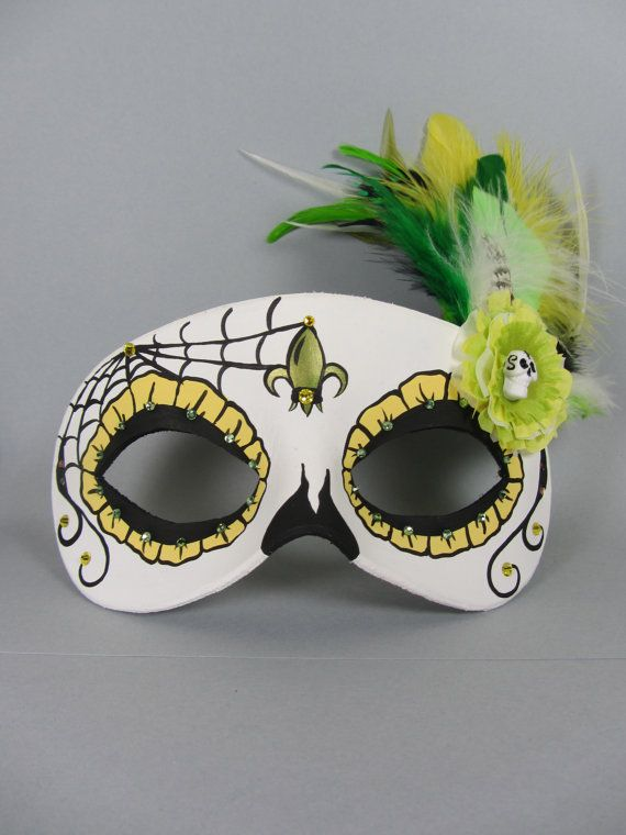 Delux Yellow and Green Day of the Dead Web, Skull, and Flower Leather Masquerade Mask