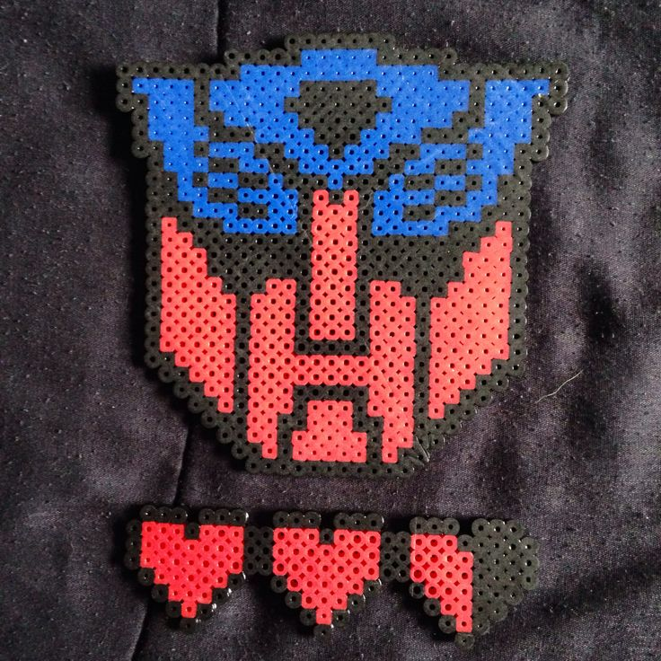 Autobots and hearts/lives :p lol | Perler beads, Beads ...