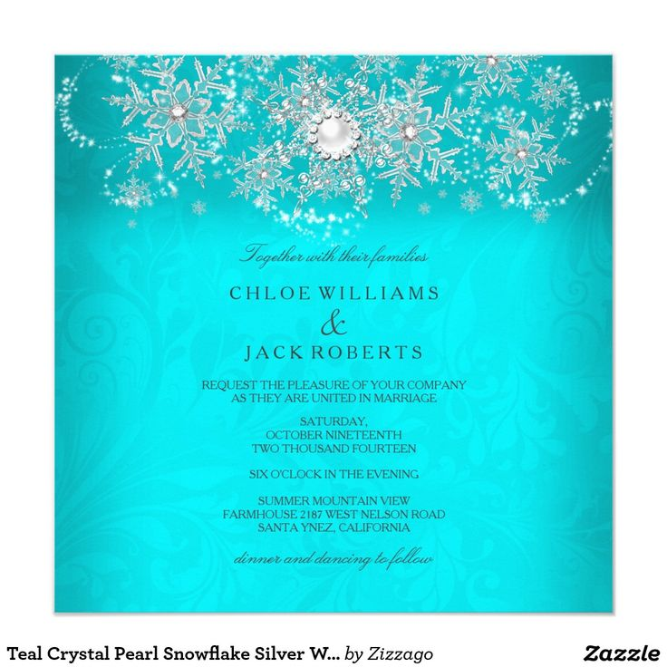 Teal Crystal Pearl Snowflake Silver Winter Wedding Invitation