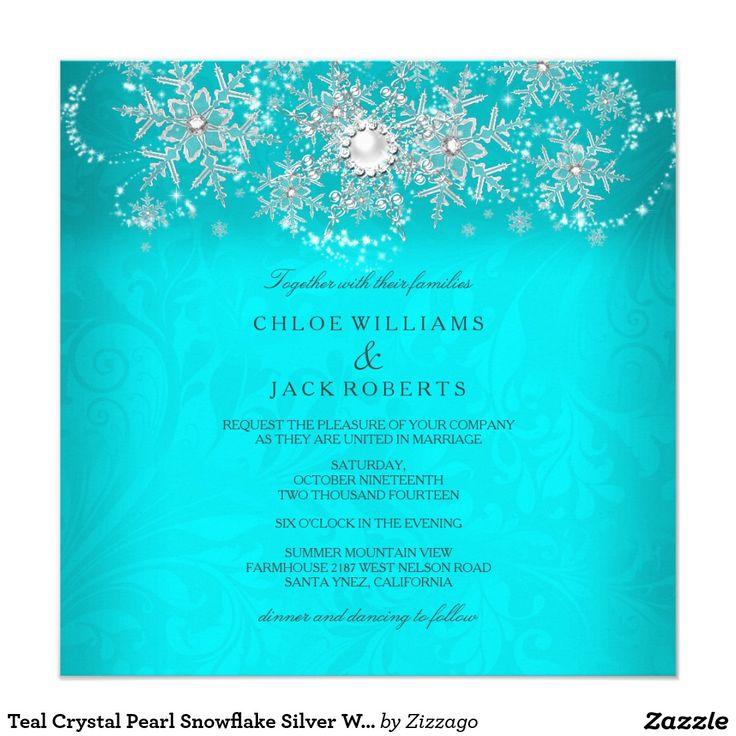 Teal Crystal Pearl Snowflake Silver Winter Wedding Invitation